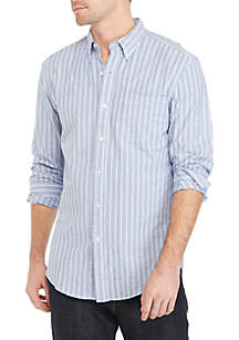 Long Sleeve Striped Oxford Button Down