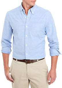 Long Sleeve Stretch Tailored Oxford Solid Button Down Shirt