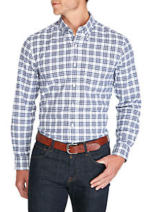 Saddlebred® Long Sleeve Stretch Tailored Oxford Plaid Button Down Shirt