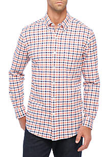 Long Sleeve Stretch Tailored Oxford Plaid Button Down Shirt