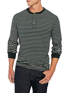 Long Sleeve Jersey Henley Stripe Top