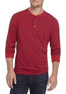 Long Sleeve Jersey Henley Stripe Top
