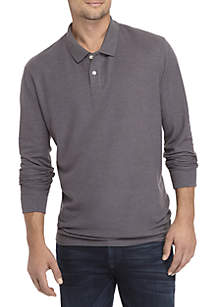 Long Sleeve Solid Comfort Flex Stretch Pique Polo