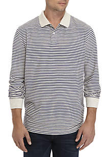 Long Sleeve Stripe Comfort Flex Stretch Pique Polo
