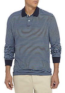 Long Sleeve Stripe Comfort Flex Stretch Pique Polo