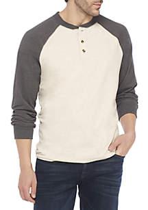 Long Sleeve Jersey Henley Raglan Shirt