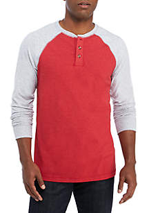 Long Sleeve Jersey Henley Raglan Shirt
