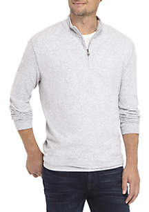 Long Sleeve Comfort Flex Stretch Solid Jersey Quarter Zip Shirt