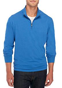 Long Sleeve Comfort Flex Stretch Solid Jersey Quarter Zip Shirt