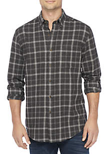 Long Sleeve Woven Flannel Button Down Shirt
