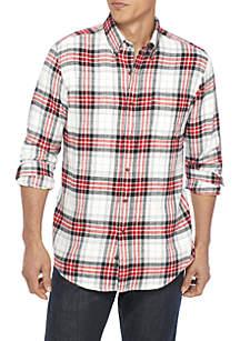 Long Sleeve Woven Flannel Button Down Shirt