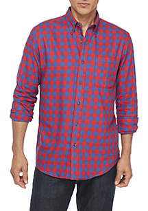 Saddlebred® Long Sleeve Woven Flannel Button Down Shirt