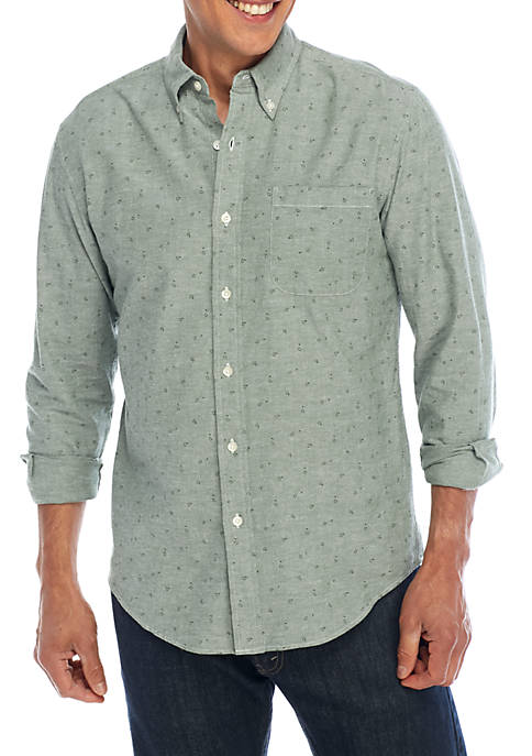 Saddlebred® Long Sleeve Stretch Oxford Print Button Down