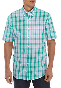 Saddlebred® Short Sleeve Plaid Button Down Shirt