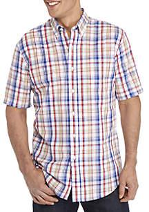 Saddlebred® Short Sleeve Plaid Button Down Shirt