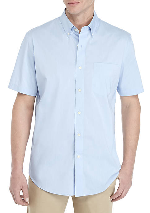 Saddlebred® Solid Traveler Short Sleeve Woven Shirt