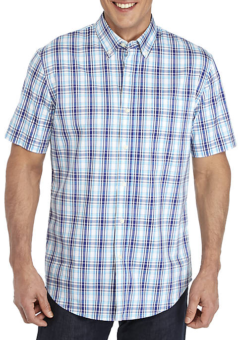 Saddlebred® Plaid Traveler Short Sleeve Woven Shirt