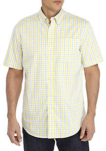 Saddlebred® Plaid Traveler Short Sleeve Woven Shirt