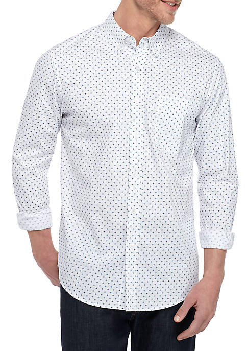 Long Sleeve Wrinkle Free Comfort Flex Stretch Tailored Fit Shirt