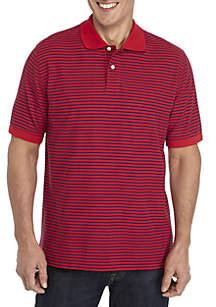 Saddlebred® Short Sleeve Stripe Pique Polo Shirt