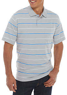 Saddlebred® Short Sleeve Striped Jersey Polo Shirt