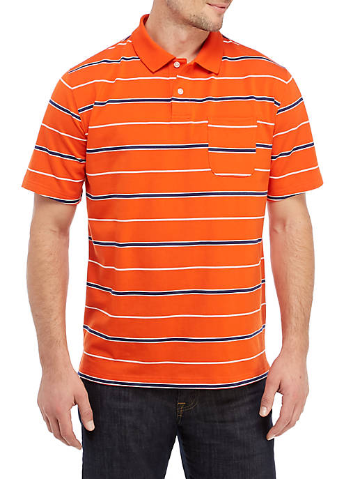 Short Sleeve Striped Jersey Polo Shirt