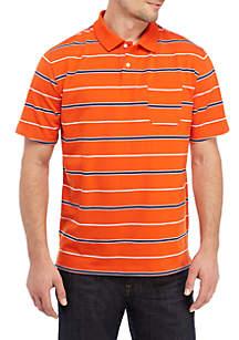 Saddlebred® Short Sleeve Striped Jersey Polo Shirt