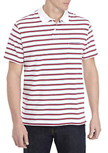 Saddlebred® Short Sleeve Striped Tailored Fit Jersey Polo Shirt
