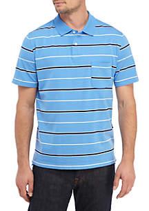 Saddlebred® Tailored Short Sleeve Striped Comfort Flex Jersey Polo Shirt