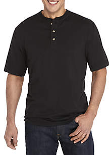 Saddlebred® Comfort Flex Solid Short Sleeve Henley Shirt