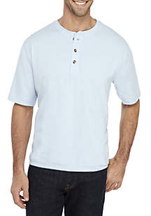 Saddlebred® Comfort Flex Solid Short Sleeve Henley Shirt