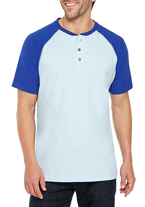 Short Sleeve Comfort Flex Raglan Henley Shirt