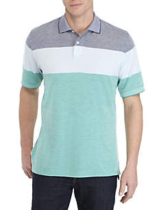 Saddlebred® Short Sleeve Colorblock Oxford Pique Polo Shirt