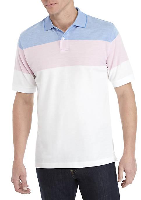Short Sleeve Colorblock Oxford Pique Polo Shirt