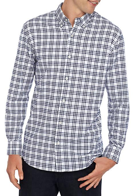 Long Sleeve Oxford Plaid Shirt