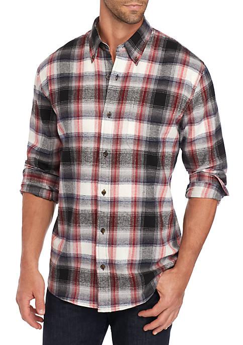 Long Sleeve Flannel Plaid Woven Shirt