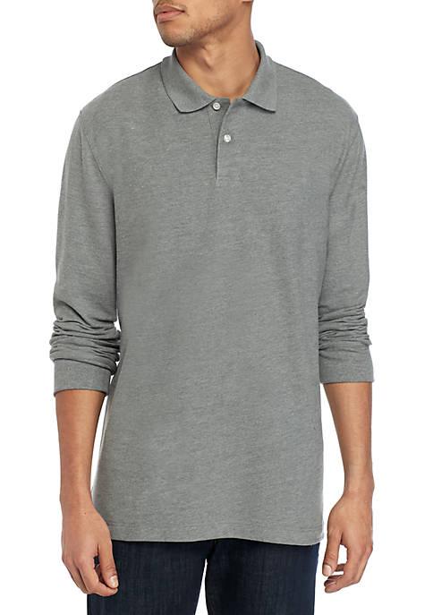 Long Sleeve Pique Solid Polo Shirt