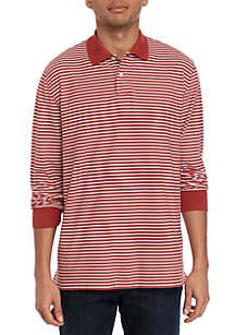 Saddlebred® Long Sleeve Stripe Pique Polo Shirt