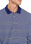 Long Sleeve Stripe Pique Polo Shirt