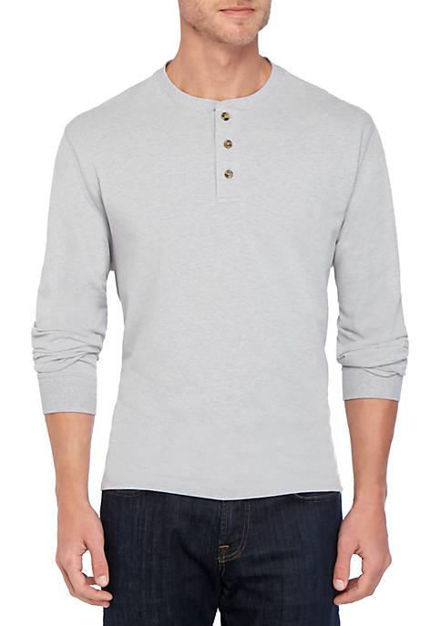 Saddlebred® Comfort Flex Long Sleeve Jersey Solid Henley