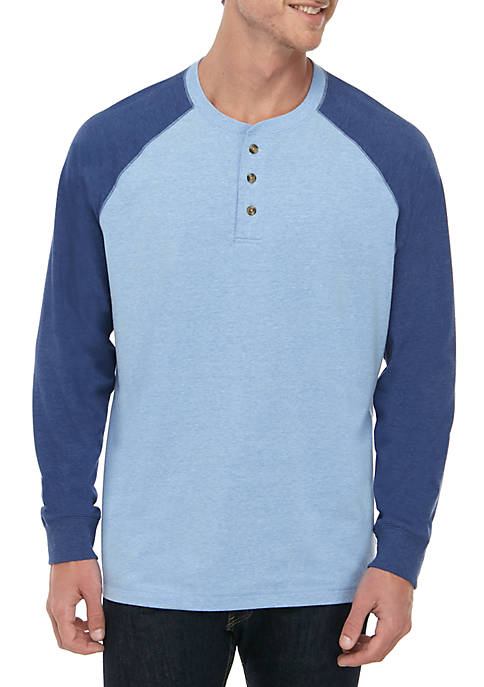 Saddlebred® Comfort Flex Long Raglan Sleeve Jersey Henley