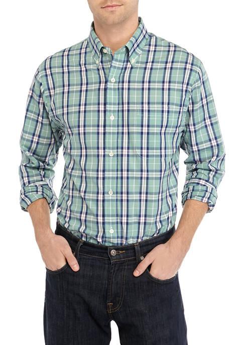 Saddlebred® Mens Short Sleeve Plaid Button Down Shirt