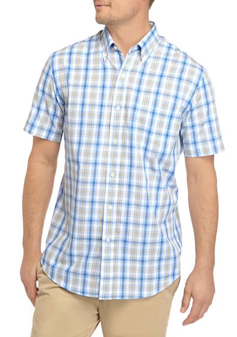Saddlebred Men's Easy Care Short Sleeve Poplin Plaid Woven Shirt (various styles/sizes)