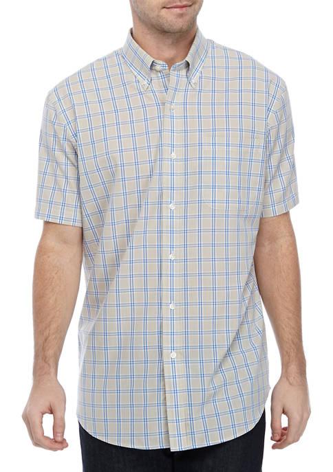 Mens Easy Care Short Sleeve Poplin Plaid Woven Shirt