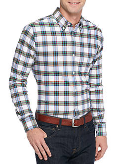 Saddlebred® 1888 Long Sleeve Tailored Plaid Oxford Shirt