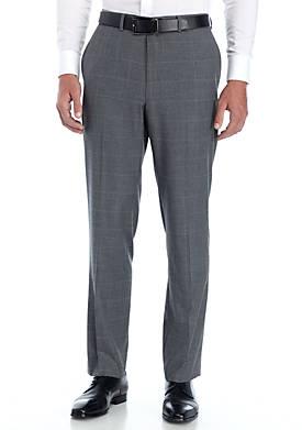Windowpane Stretch Suit Pants