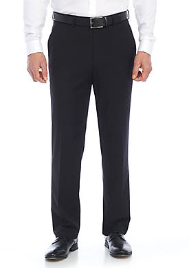 Mens Solid Flat Front Stretch Pants