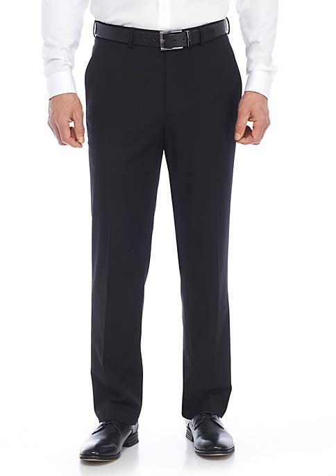 Solid Flat Front Stretch Pant
