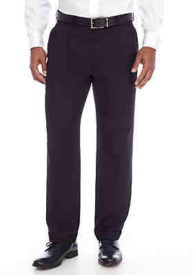 d74cfe38ef Saddlebred® Black Solid Pleated Stretch Pants ...