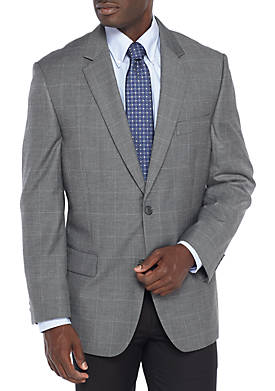 Windowpane Stretch Suit Coat